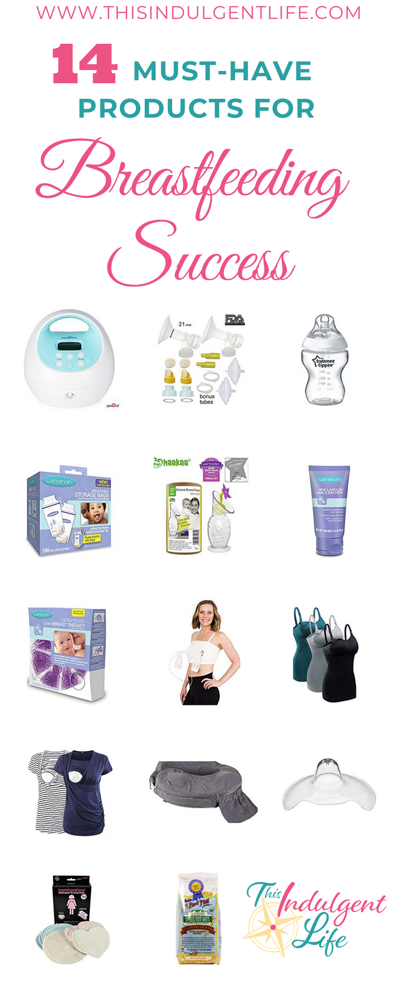 14 must have products for breastfeeding success | This Indulgent Life | 14 must-have products from nipple cream to lactation cookies, that helped make breastfeeding successful. #breastfeeding #breastfeedingessentials #breastfeedingsnacks #breastpump #nursingbra #nursingshirts #pumpingessentials