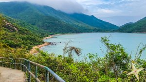 Man Cheung Po-babys first hike 2018- paved hiking path on coast