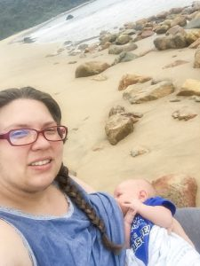 Breastfeeding on the beach at 3w old | This Indulgent Life
