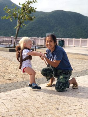 Our foreign domestic helper from the Philippines. In Hong Kong we use helpers instead of day cares.