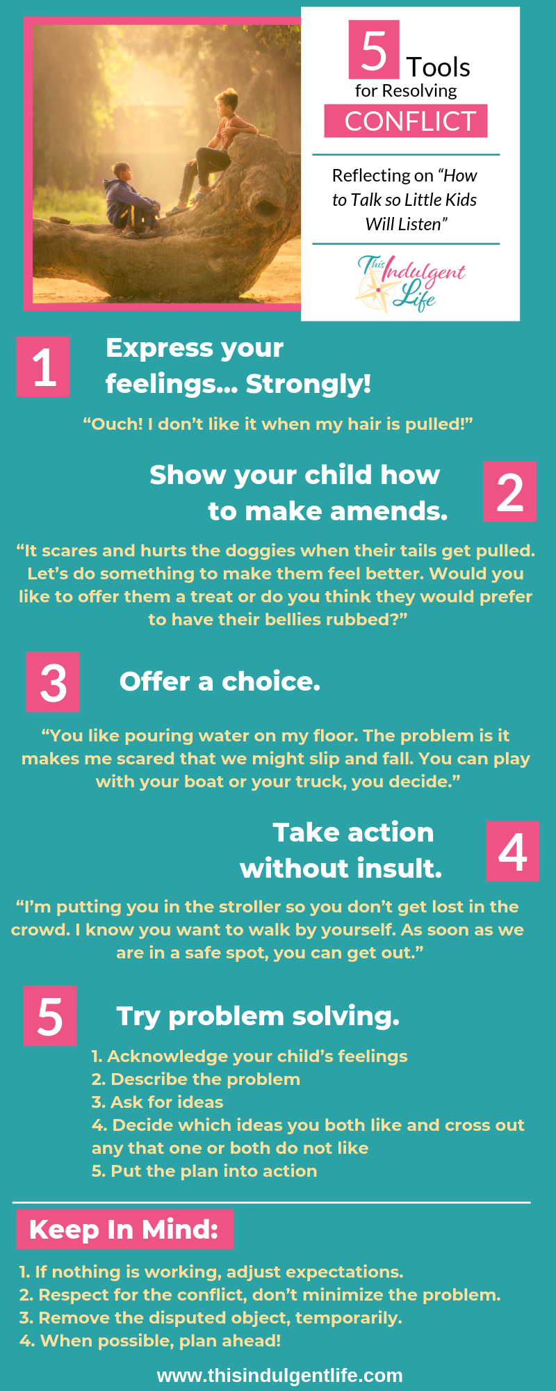 Tools For Resolving Conflict With Children Infographic | This Indulgent Life | Use these 5 tools to help you navigate power struggles with your kids. Stop yelling, bribing, and punishing to get your child to do what you want. | #toddlertantrums #toddlerbehavior #childbehavior #childraising #raisingchildren #thisindulgentlife #parentinghacks #parentingtips