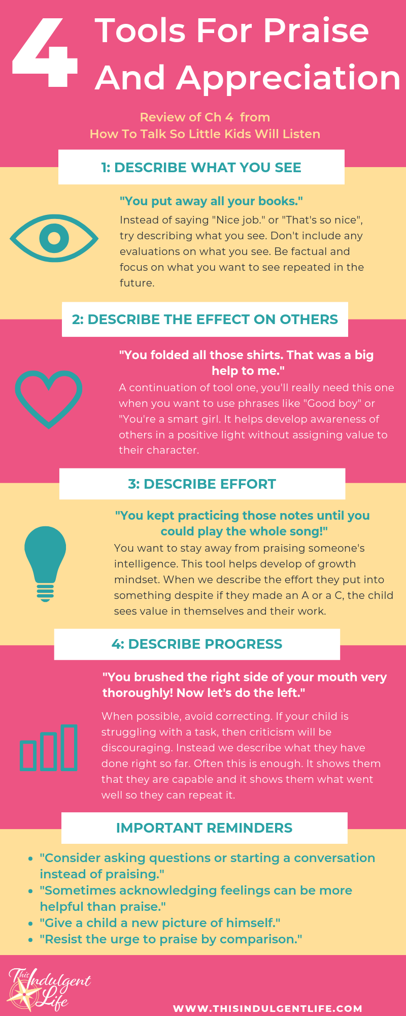 Infographic on the 4 Tools for Praise and Appreciation from 'How to Talk So Little Kids Will Listen' | This Indulgent Life | Want an easy way to see the 4 tools to show praise and appreciation to your children? Want to use effective praise? Then this infographic will help you show praise that build confidence. | #effectivepraise #praiseandappreciation #toolsforpraise #parentingbook #gentleparenting #respectfulparenting #bookreview #mindfulparenting #growthmindset #parentinghacks #parentingtips #parentinginfographic
