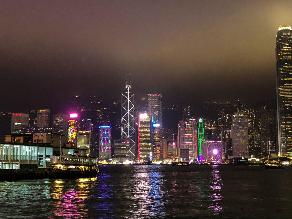 Hong Kong Skyline Christmas eve at TST Harbor