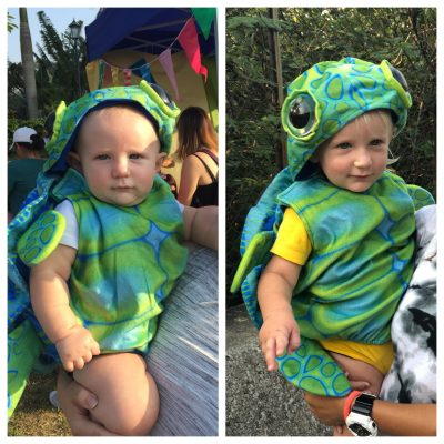 Sea turtle costume on 9m and 18m old