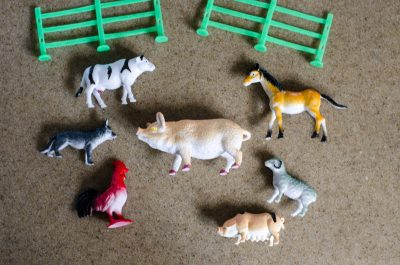 small plastic farm animals for a sensory activity with jello | This Indulgent Life