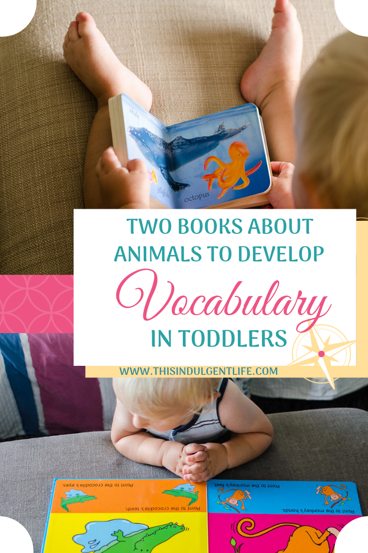 2 Animal Vocabulary books to Develop Vocabulary in Toddlers | This Indulgent Life | My toddler loves looking at all the animals in these two books. They're perfect for pointing out the different body parts and developing his vocabulary. | #developinglanguage #booksforkids #booksfortoddlers #vocabularybooks #interactivebooks #animalbooks