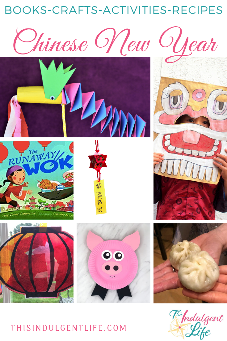 Books-Crafts-Activities-Recipes for Chinese New Year| This Indulgent Life | An assortment of activities, books, and food all about Chinese New years. | #chinesenewyearscrafts #cnycrafts #redenvelopecrafts #dragoncrafts #pigcrafts #chineserecipes #yearofthepig #lionmask #liondance #springfestival #craftsforkids #preschoolcrafts #lessonsonchina #chineseculture #ChineseNewYear