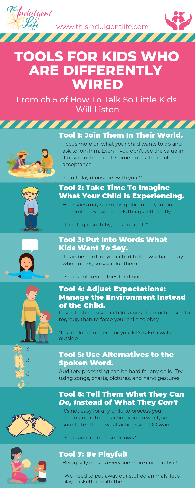 7 Tools for Kids who are differently Wired- Chapter 5 of How To Talk So Little Kids Will Listen, a chapter for parents with kids on the spectrum or other neurodivergences. | This Indulgent Life | Want to know if gentle parenting will work with your child? Afraid you can't use the reasoning techniques from the rest of the book? Then this chapter is for you. Gentle parenting CAN work with your neuroatypical child, but you may need to make some adjustments. | #gentleparenting #neurodivergentchildren #neurodivergence #neurotypical #autismspectrumdisorder #sensoryprocessingdisorder #strongwilledkids #discipline #respectfulparenting #peacefulparenting #mindfulparenting #toolsforconnection #parentbonding #auspergers