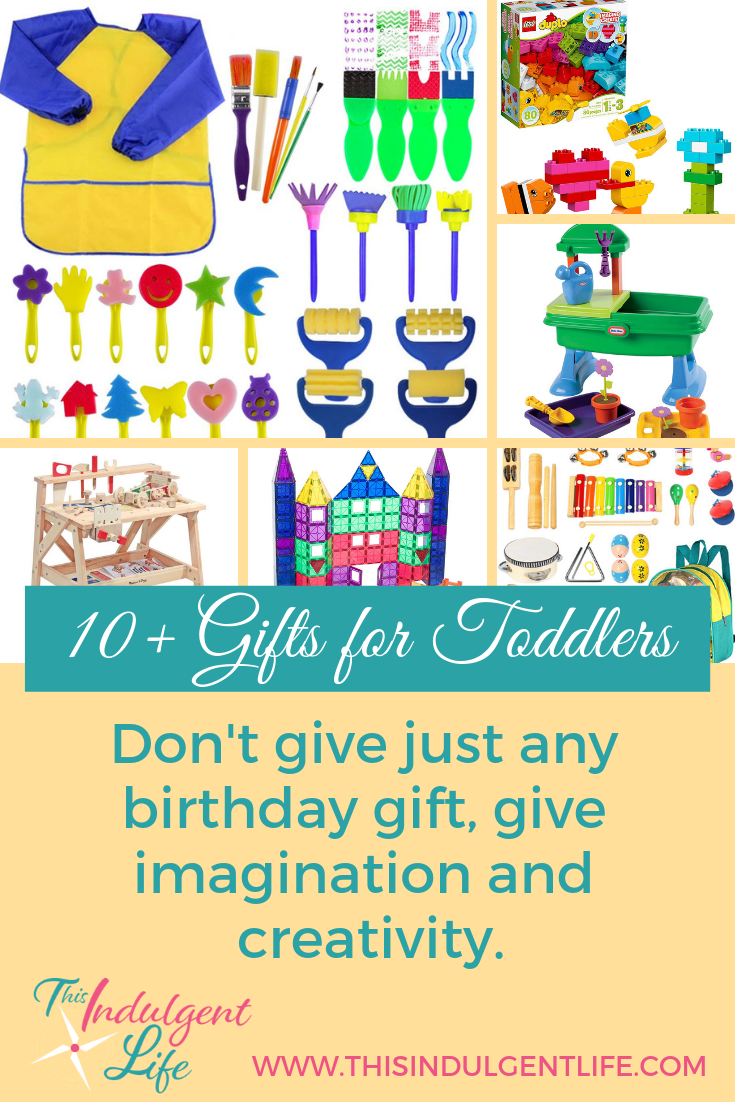 10+ Gifts for Toddlers- Don't give just any birthday gift, give imagination and creativity!   This Indulgent Life  Toys are great, but it's better to give a gift you know will help your child's development. These 10+ gifts are perfect in helping your child think creatively and grow their imagination   #growthmindset #giftsforboys #giftsforgirls #artgifts #dressupplay #musicgifts #toddlerbirthdaygifts #toddlergifts #bestgiftsforkids #learningtoys #educationaltoys #educationalgifts #inspirecreativity #inspireimagination #developingcreativity #developimagination #playbasedlearning