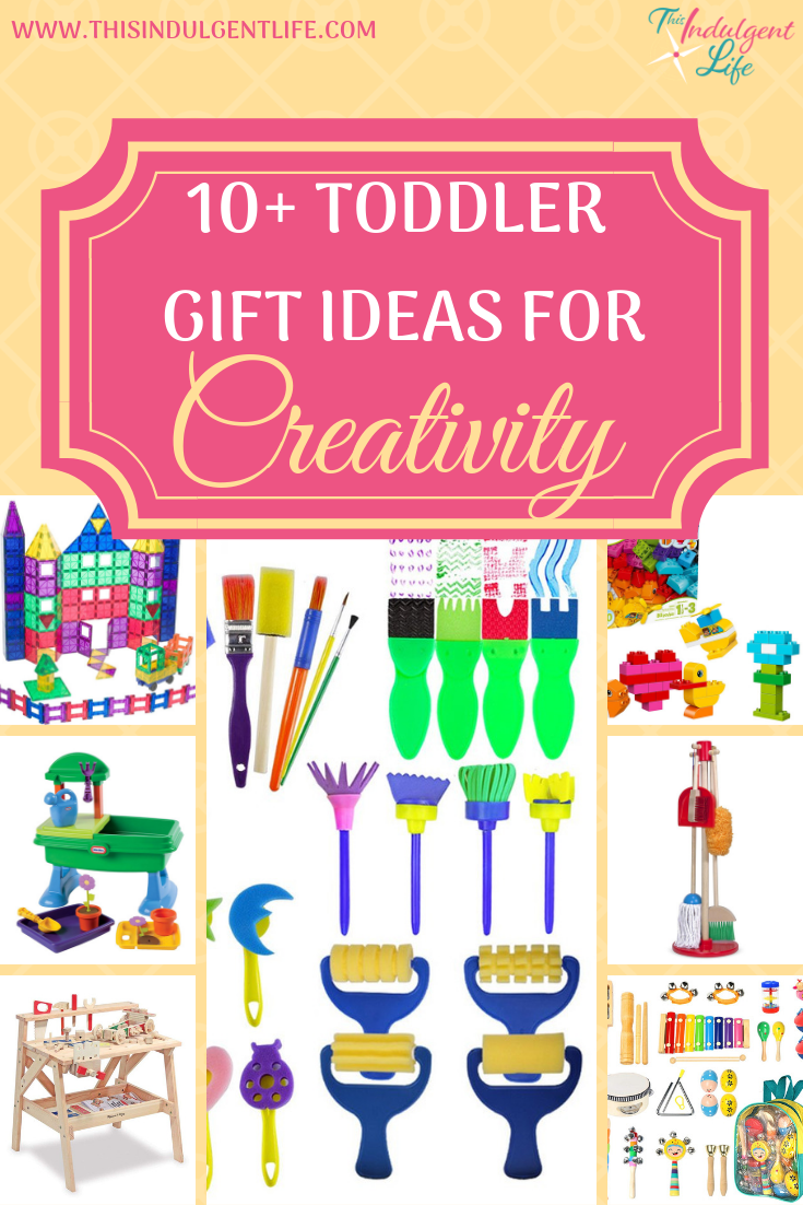 10+ Toddler Gift Ideas for Creativity   This Indulgent Life   Finding the perfect gift for your child can be a daunting task. Here's a list of over ten gift ideas to excite any young child and you can feel good about giving it because they all develop creativity and imagination!   #dressup #musthavegifts #giftsforboys #giftsforgirls #artgifts #buildinggifts #musicgifts #toddlerbirthdaygifts #toddlergifts #bestgiftsforkids #learningtoys #educationaltoys #educationalgifts #inspirecreativity #inspireimagination #developingcreativity #developimagination #playbasedlearning