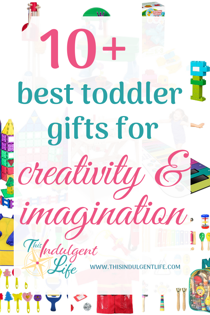 10+ Best Toddler Gifts for Creativity and Imagination   This Indulgent Life   Looking for an amazing present for your toddler? This list of over 10 of the best toddler gifts are perfect for encouraging your child to use their imagination and develop their creativity.   #growthmindset #giftsforboys #giftsforgirls #artgifts #buildinggifts #musicgifts #toddlerbirthdaygifts #toddlergifts #bestgiftsforkids #woodentoys #educationaltoys #educationalgifts #inspirecreativity #inspireimagination #developingcreativity #developimagination #playbasedlearning