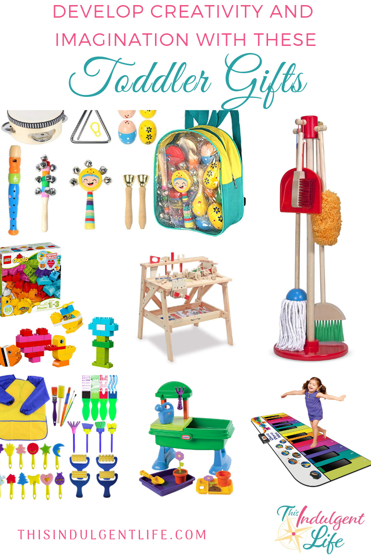 Develop Creativity and Imagination with these Toddler Gifts | This Indulgent Life | When looking for the perfect gift for your toddler check out these 10+ must-have gifts to develop creativity and imagination. | #giftsforboys #giftsforgirls #artgifts #buildinggifts #musicgifts #toddlerbirthdaygifts #toddlergifts #bestgiftsforkids #learningtoys #educationaltoys #educationalgifts #inspirecreativity #inspireimagination #developingcreativity #developimagination #playbasedlearning