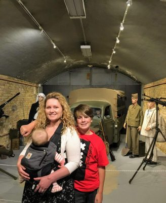 Brandi, Chris, and Violet at the Dunkerque Operation Dynamo Museum in Dunkirk, France