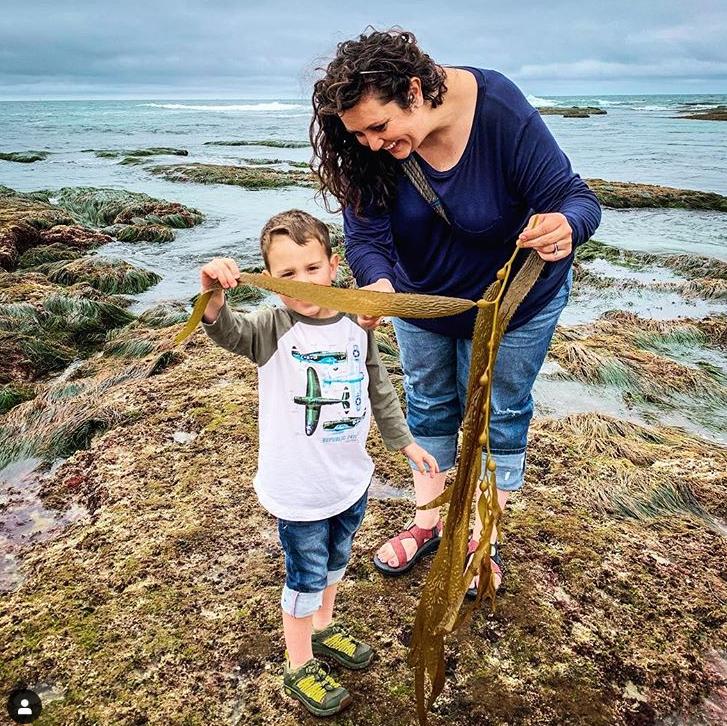 The Wandermires doing homeschool outside looking at sea kelp.